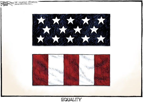 Gay Marriage Ruling © Nate Beeler,The Columbus Dispatch,gay marriage, same sex, ruling, decision, supreme court, scotus, law, courts, constitution, america, united state, flag, equality, civil rights