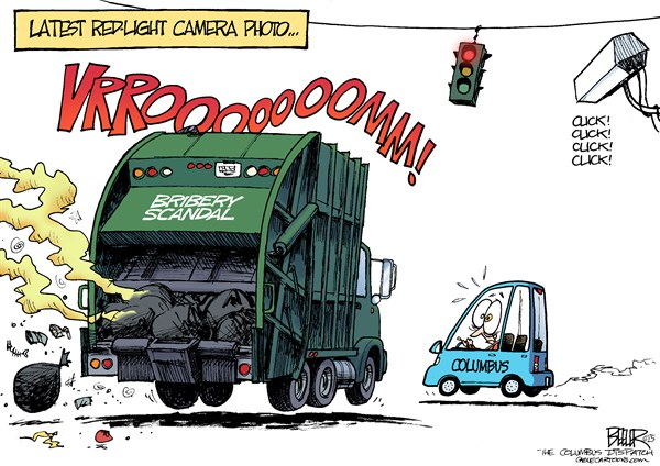 LOCAL OH   Red Light Bribery © Nate Beeler,The Columbus Dispatch,bribery, scandal, columbus, ohio, ginther, coleman, garbage, truck, stink, redflex, red light, camera, photo, government, corruption, trash