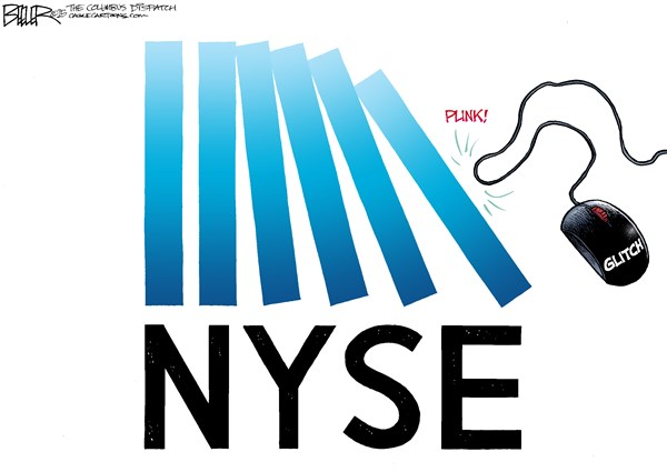 Wall Street Dominoes © Nate Beeler,The Columbus Dispatch,new york stock exchange, nyse, glitch, computer, technology, economy, market, stocks, internet, mouse, dominoes, wall street, trading, suspend, halt