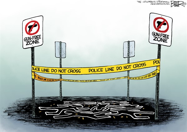 Mass Shooting Zone, Nate Beeler,The Columbus Dispatch,gun, violence, mass shooting, oregon, gun free zone, crime, second amendment, law, active shooter, police line, firearms