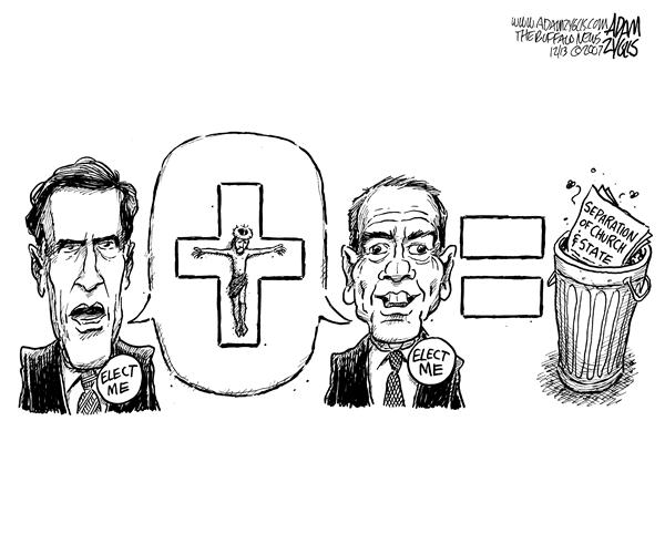 Adam Zyglis - The Buffalo News - Romney and Huckabee - English - Mitt Romney, Mike Huckabee,campaign 2008,trash