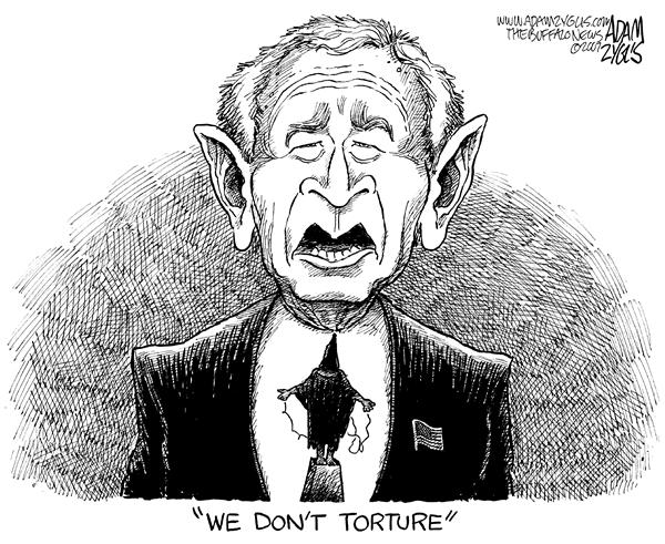 Adam Zyglis - The Buffalo News - Torture - English - torture, tie, abu ghraib, bush, we dont torture, quote