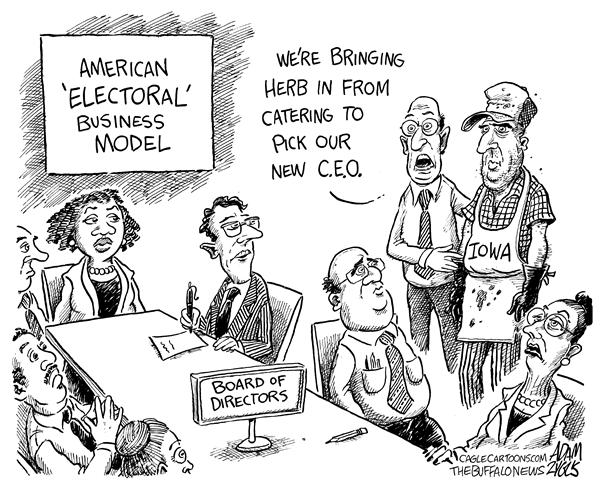 Adam Zyglis - The Buffalo News - Electoral System - English - Iowa, caucus, Iowa caucus, caucuses, Iowa caucuses, primaries, 2008, election, electoral system, electoral college, business model