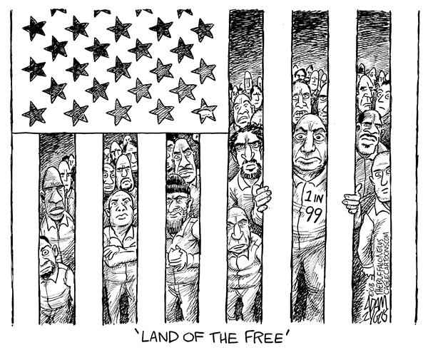 Adam Zyglis - The Buffalo News - US Prison Population - English - prisons, prisoners, inmates, population, incarceration, jail, costs, us, american, 1st, world, leader, 1, 1 in 99, usa, adults, land of the free, flag, stars, stripes