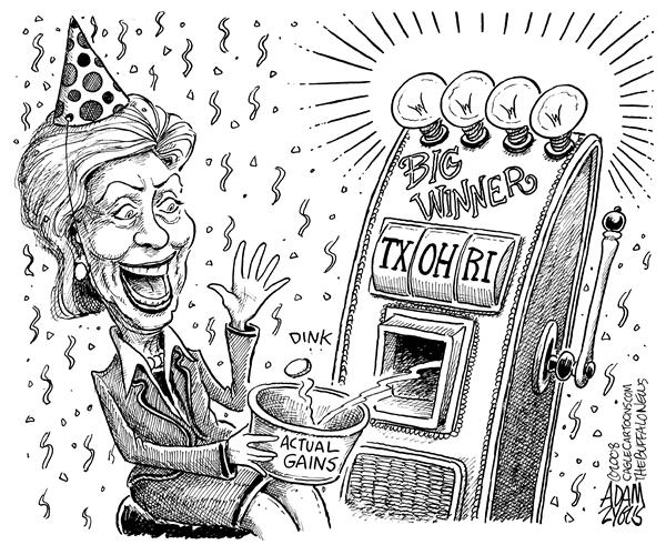 Adam Zyglis - The Buffalo News - Hillary Big Winner - English - hillary, clinton, obama, texas, ohio, rhode island, primaries, primary, caucus, winner, delegates, vote, 2008, presidential, race, election, democrats, comeback, campaign