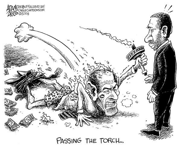 Adam Zyglis - The Buffalo News - NY STATE Spitzer Passing the Torch - English - spitzer, eliot, new york, state, ny, government, albany, governor, paterson, david, prostitute, scandal, client 9, resigned