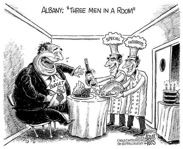 Adam Zyglis - The Buffalo News - NY STATE Big Budget - English - local, ny state, new york, state, albany, 2008, budget, spending, increase, taxes, fees, three men in a room, 3 men in a room, special interests, lobbyists, paterson, governor, legislature, corrupt