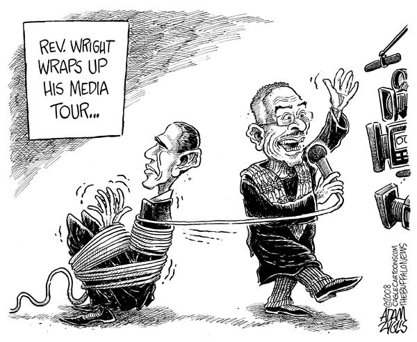 Adam Zyglis - The Buffalo News - Reverend Wright - English - reverend wright, rev wright, reverend, jeremiah wright, obama, barack, barack obama, pastor, obamas pastor, church, religion, politics, primaries, democrats, elections, indiana, 2008, presidential, race, clinton, hillary, media