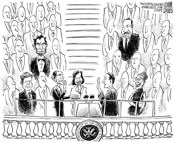 Adam Zyglis - The Buffalo News - Obama Inauguration - English - obama, president, inauguration, lincoln, mlk, martin luther king, jfk, kennedy, rosa parks, civil rights, equality