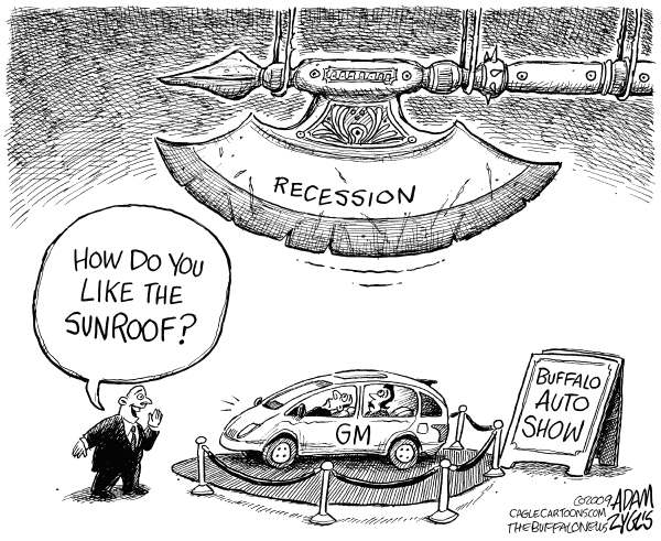 Adam Zyglis - The Buffalo News - Local Auto Show - English - auto show, gm, big three, auto industry, recession, economy, axe, layoffs, bailout, american, car sales
