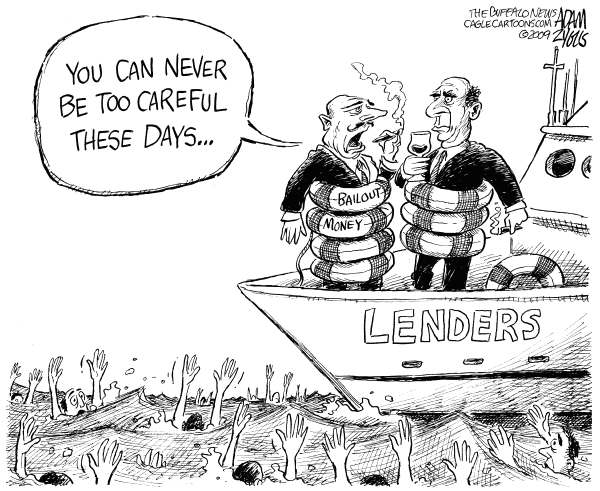 Adam Zyglis - The Buffalo News - Lenders Hoarding Bailouts - English - bailout, banks, lenders, consumer, recession, stimulus, borrowers, economy, wall street, investment, handouts, debt