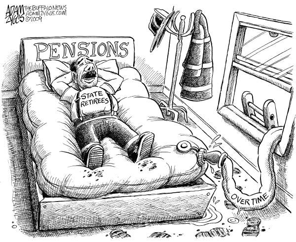Adam Zyglis - The Buffalo News - Bloated State Pensions - English - bfd, new york state, state, buffalo, albany, pensions, taxes, budget, retirement, bloated, overtime, unions, firemen, salaries