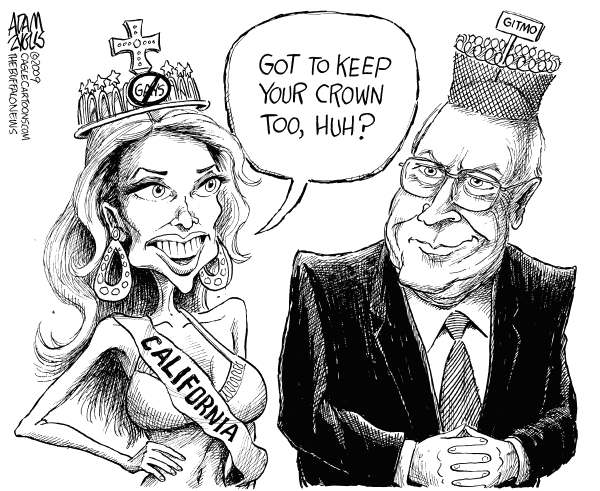 Cheneys Crown © Adam Zyglis,The Buffalo News,dick cheney, vice president, bush, gitmo, guantanamo, camp delta, prison, detainees, war on terror, power, obama, president, congress, miss california, usa, crown, gay marriage
