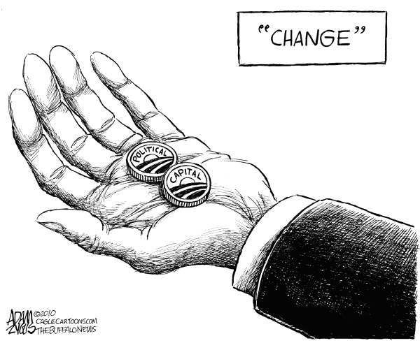 Change © Adam Zyglis,The Buffalo News,change, barack, obama, white house, president, political capital, hope, state of the union, one year, health care reform, politics