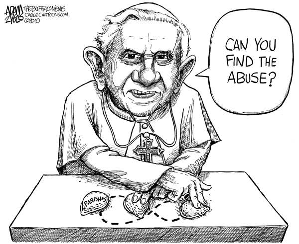 Pope Covering Up Abuse © Adam Zyglis,The Buffalo News,pope, benedict, catholic, church, parishes, abuse, child, sexual, shell game, religion, rome, christianity