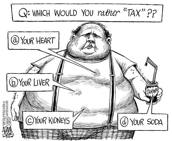 Surgary Beverage Tax © Adam Zyglis,The Buffalo News,soda, tax, fat, sugar tax, sugar, soft drinks, beverages, sugary, ny, new york, state, budget, paterson
