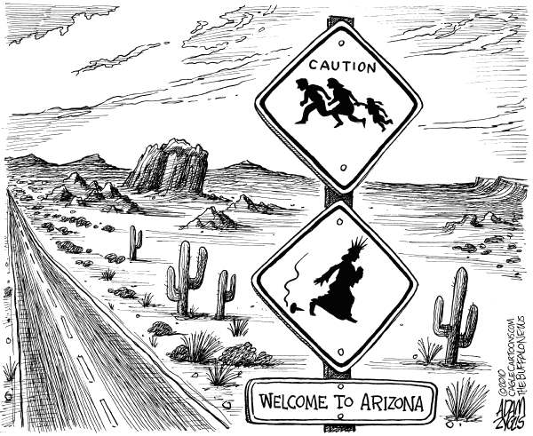 Adam Zyglis - The Buffalo News - Welcome to Arizona - English - arizona, immigration, law, legislature, bill, illegal, immigrants, illegal aliens, freedom, liberty, racial profiling, discrimination, documentation