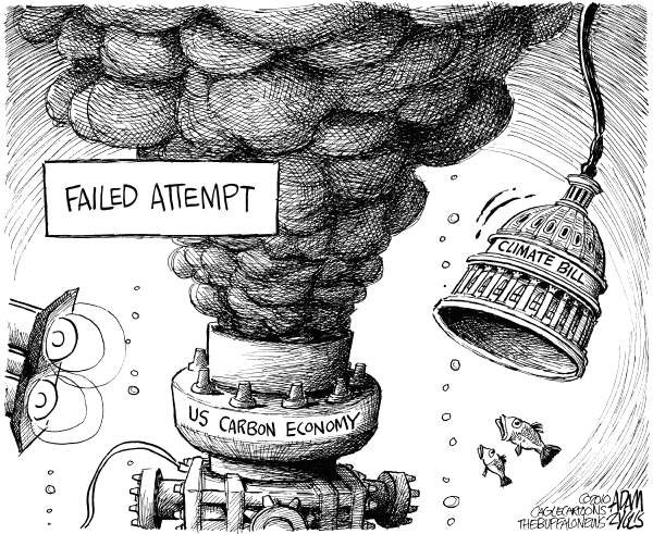 Capping the Oil © Adam Zyglis,The Buffalo News,economy,carbon,evironment,climate,climate change,bill,legislation,congress,global warming,science,business,cap,top hat,oil,spill,bp,gulf,pollution