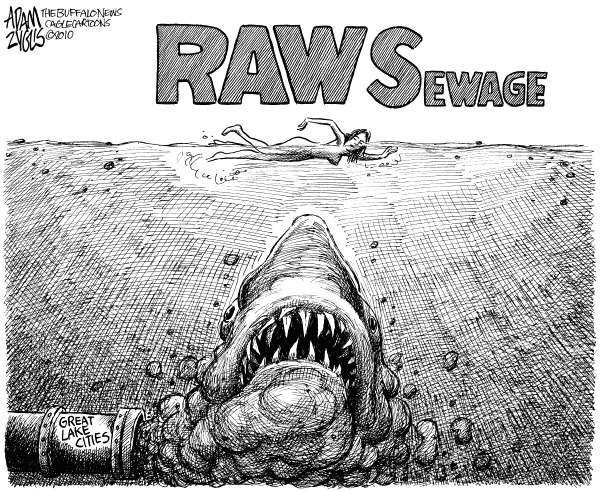 81639 600 Raw Sewage in Great Lakes LOCAL cartoons