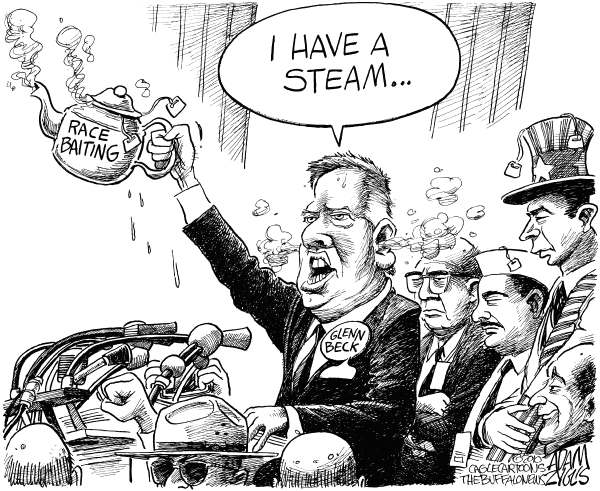 Adam Zyglis - The Buffalo News - Glenn Beck as MLK - English - glenn beck, beck, washington, march, speech, rally, restoring honor, racism, race baiting, martin luther king, king, mlk, anniversary, lincoln memorial, tea party, fox news