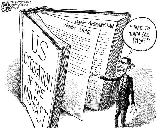 Obama the Page Turner © Adam Zyglis,The Buffalo News,obama, barack obama, white house, president, iraq war, war, iraq, occupation, afghanistan, middle east, military, foreign policy, history, international, global