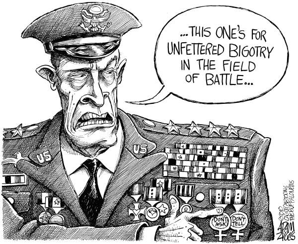 Adam Zyglis - The Buffalo News - Medal of Dishonor -Gay - English - us, gays, soldiers, war, military, civil rights, dont ask dont tell, homosexuality, policy, army, pentagon, generals, congress