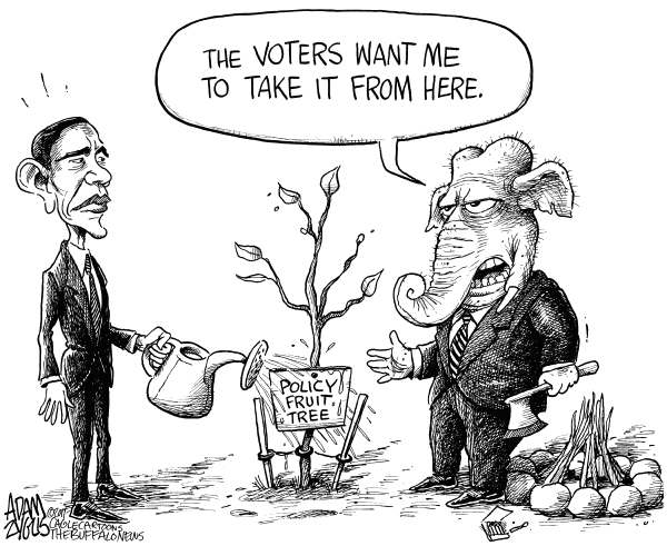 Obama Policy Fruit Tree © Adam Zyglis,The Buffalo News,obama, president obama, white house, policy, fruit tree, policy fruit tree, gop, republican, party, house, voters, election, repeal, health care, economy, stimulus