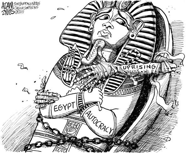 Egypt Uprising © Adam Zyglis,The Buffalo News,egypt, autocracy, uprising, protests, democracy, middle east, populism, world, global, politics, mubarack, president, king tut, mummy