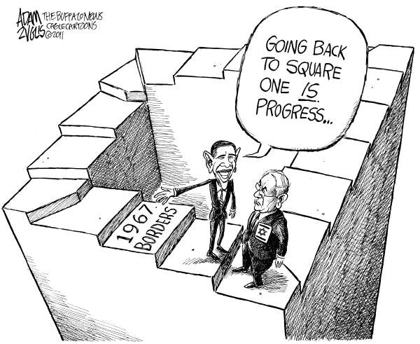 Back to Square One © Adam Zyglis,The Buffalo News,netanyahu, israel, obama, president, palestine, settlements, 1967 borders, white house, peace process, peace, middle east, war, foreign policy