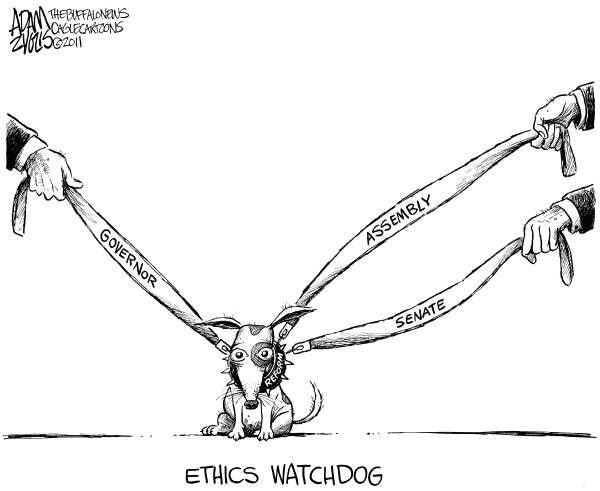 NY State Ethic Reform © Adam Zyglis,The Buffalo News,albany, ny, state, new york, ny state, governor, cuomo, ethics, reform, legislature, assembly, senate, leash, watchdog