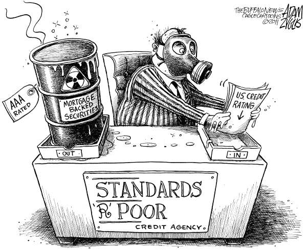 Adam Zyglis - The Buffalo News - Standards R Poor - English - standard  poors, standards, r, poor, mortgage backed securities, housing, loans, mortgages, bad, investments, credit, rating, agency, SP, toxic, US, government, AA+, downgrade, credit, debt