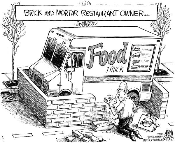 Adam Zyglis - The Buffalo News - LOCAL Food Truck Legislation - English - food, food truck, culinary, culture, restaurant, owner, business, brick and mortar, buffalo, city, law, bill, legislation