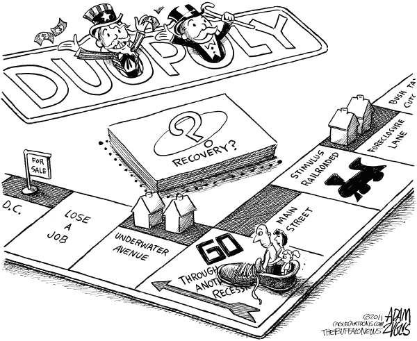 Duopoly © Adam Zyglis,The Buffalo News,duopoly, monopoly, us, government, congress, rich, big business, recession, poor, rich, class, recovery, jobs, lobbying, housing, market, foreclosure, underwater, double dip, stimulus, tax cuts, politics