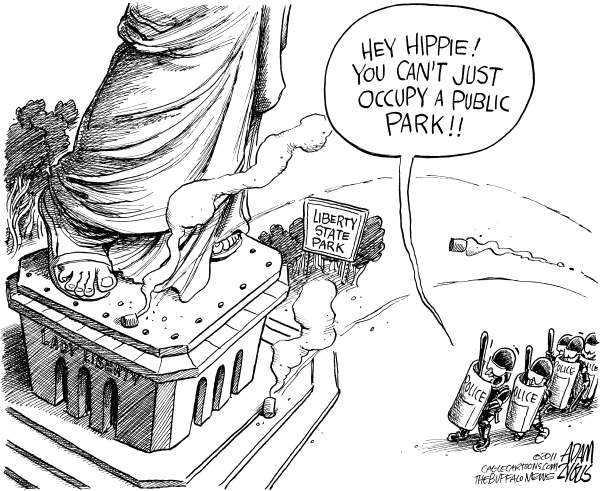 Hippie in Sandals © Adam Zyglis,The Buffalo News,lady, liberty, freedom, assemble, first amendment, occupy, wall street, ows, police, evited, park, hippies, ny city, new york, protest, tear gas, oakland