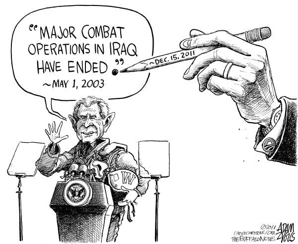 Adam Zyglis - The Buffalo News - A Period of 8 Years - English - bush, iraq, obama, president, flight suit, combat operations, major, war, flight deck, 2003, speech, mission accomplished, middle east, foreign policy, military