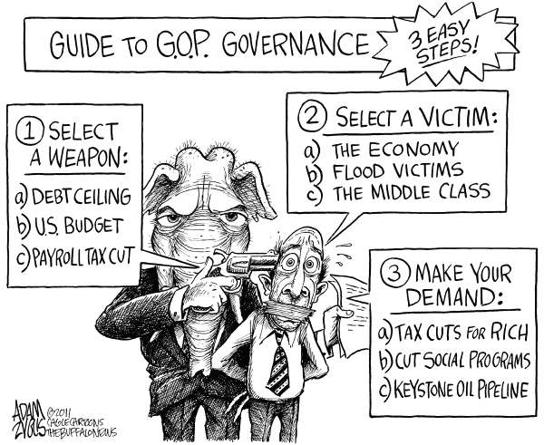 Adam Zyglis - The Buffalo News - Guide to GOP Governance - English - gop, republican, party, governance, blackmail, extortion, weapon, debt ceiling, us budget, federal, budget, payroll, tax cut, bush, rich, economy, fema, middle class, victim, demand, social programs, keystone oil pipeline