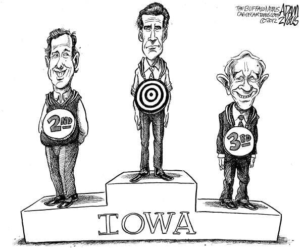 Adam Zyglis - The Buffalo News - First Place Romney - English - romney, mitt romney, iowa, caucus, primary, election, gop, santorum, rick, ron paul, paul, podium, winner, white house, president, race, republican, nominee, front runner, target