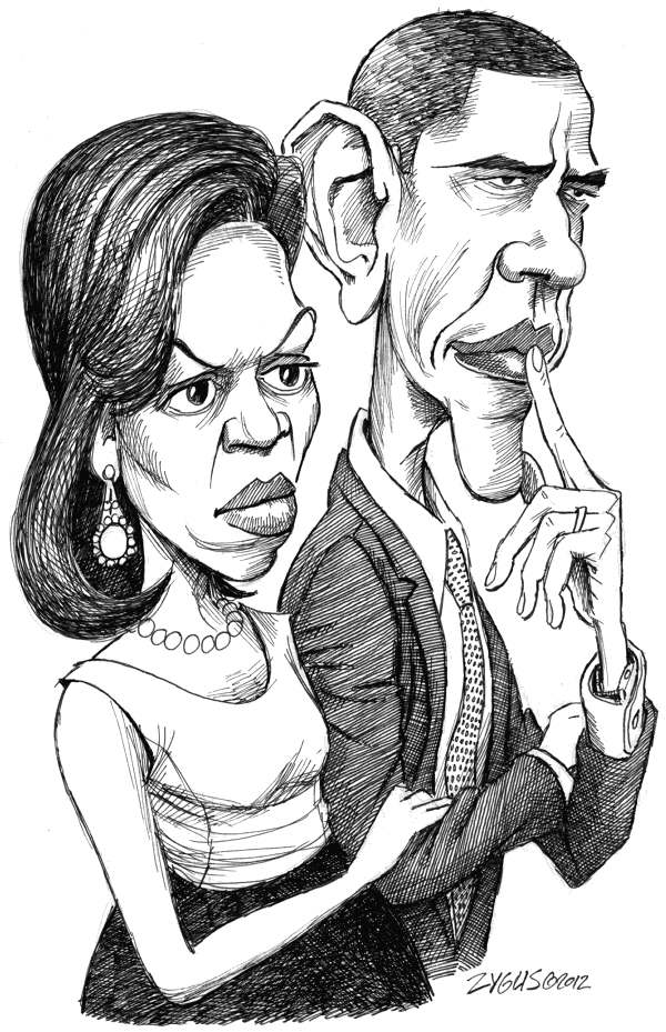 Adam Zyglis - The Buffalo News - Michelle y Barack - Spanish - Barack, Obama, presidente, USA, Michelle, Casa, Blanca, primera, dama, pareja, matrimonio, libro