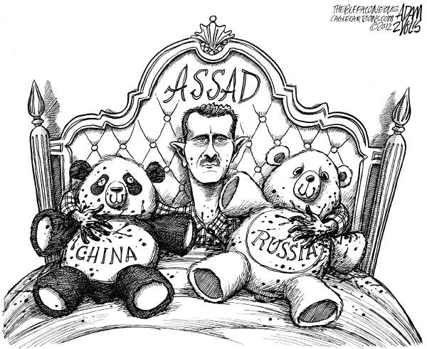 Syrian Blood © Adam Zyglis,The Buffalo News,syria, bloodshed, assad, bashar, al-assad, leader, dictator, china, russia, un, resolution, veto, protestors, freedom, arab spring, killing, murder, crackdown, unrest, middle east