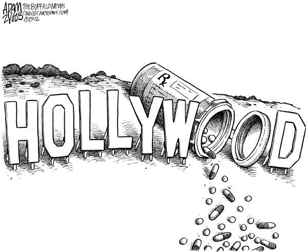Hollywood Pills © Adam Zyglis,The Buffalo News,hollywood, hills, sign, pills, prescription, medications, drugs, addiction, celebrity, movies, music, stardom, fame, fortune, death, overdose, whitney, houston, obit, obituary, Michael Jackson