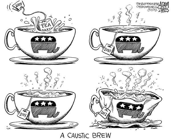 Adam Zyglis - The Buffalo News - A Caustic Brew - English - gop, tea party, base, conservative, republican, race, 2012, election, primary, caustic, religion, god, culture war, politics, santorum, newt, romney, gay marriage, social issues, contraception, abortion