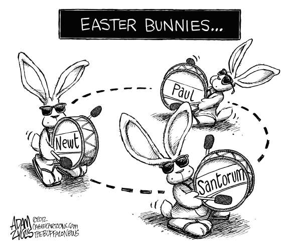 Adam Zyglis - The Buffalo News - GOP Easter Bunnies - English - easter, bunnies, gop, republican, candidates, president, 2012, primary, election, newt, gingrich, rick, santorum, ron paul, energizer, bunny, going, campaign, never ending
