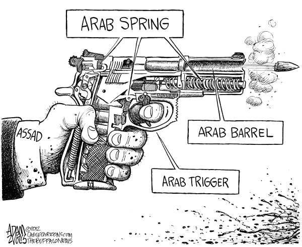 Adam Zyglis - The Buffalo News - Arab Spring in Syria - English - arab spring, arab, barrel, trigger, crackdown, syria, assad, pistol, gun, bloodshed, democracy, middle east, violence, unrest, foreign, global, politics, dictator, president