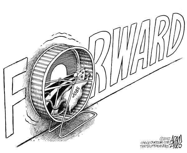Adam Zyglis - The Buffalo News - Stagnant Job Market - English - obama, president, campaign, slogan, forward, job, growth, jobs, economy, stimulus, spending, government, politics, election, 2012, race, wheel, mouse, rat