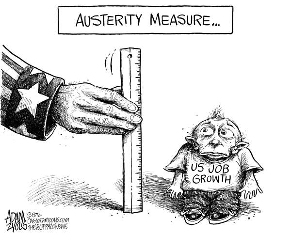 Adam Zyglis - The Buffalo News - Stunted Job Growth - English - job growth, us, jobs, market, employment, austerity, cuts, government, policy, economy, economic, spending, stimulus, congress, obama, washington, unemployment, politics