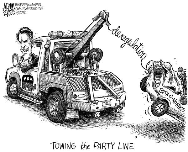 Adam Zyglis - The Buffalo News - Romney and Deregulation - English - romney, gop, mitt romney, republican, candidate, nominee, party line, 2012, election, economy, bush, deregulation, market, crash, tow truck, recession, great, bushonomics, trickle down, tax cuts