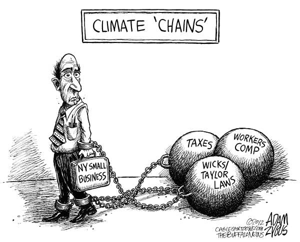 Adam Zyglis - The Buffalo News - LOCAL NY Business Climate - English - new york, state, ny, business, climate, chains, climate change, taxes, economy, wicks, taylor, laws, workers comp, cuomo, governor