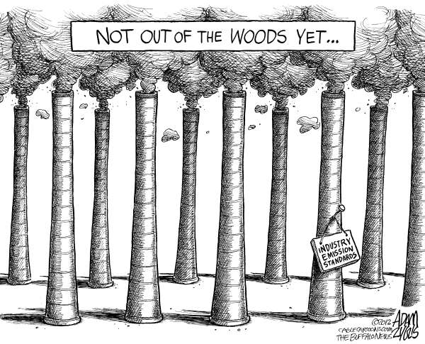 Adam Zyglis - The Buffalo News - Industry Emission Standards - English - climate change, emissions, global, industry, carbon, footprint, out of the woods, trees, oxygen, particles, epa, standards, obama, white house, science, business, coal, power, plants, fossil fuel, greenhouse, gases, environment