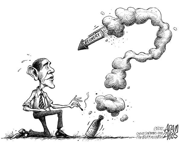 Adam Zyglis - The Buffalo News - Economic Fireworks - English - obama, president, election, 2012, white house, recovery, jobs, manufacturing, slowing, growth, recession, economy, politics, question mark, july 4th, independence day