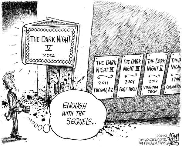 Adam Zyglis - The Buffalo News - CORRECTION Colorado Theater Shooting - English - colorado; theater; shooting; massacre; tragedy; the dark knight; dark night; sequels; batman; hollywood; gun; violence